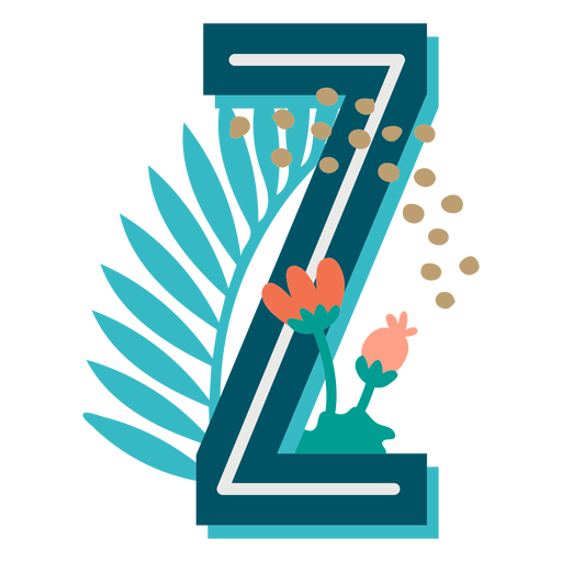 Tropical decorated capital letter z Transparent PNG