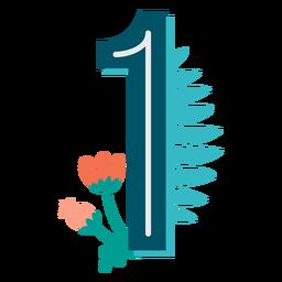 Número decorado tropical 1