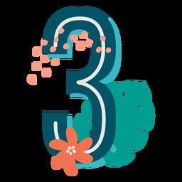 Número decorado tropical 3