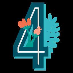 Número 4 decorado tropical
