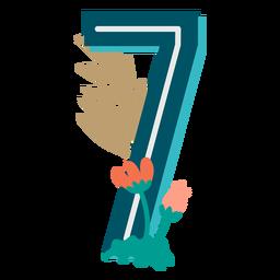 Número decorado tropical 7
