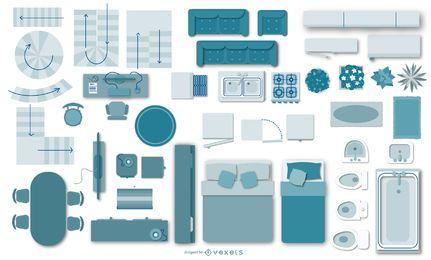 Colección de elementos planos planos de arquitectura