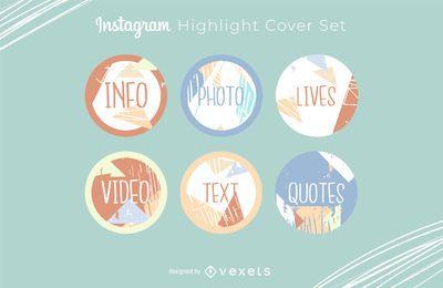 Conjunto de portadas destacadas de Instagram