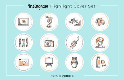Conjunto de capa de destaque de arte do Instagram