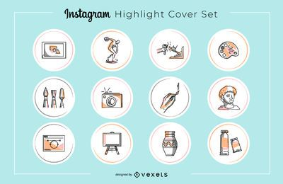 Conjunto de portadas destacadas de Instagram Art