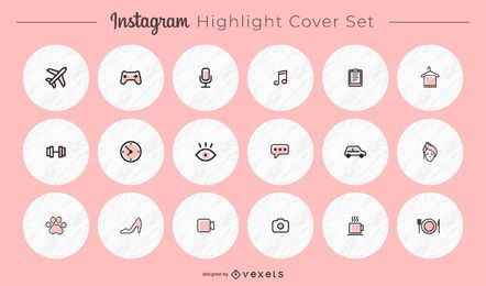 Pacote de capa redonda de ícones diversos do Instagram