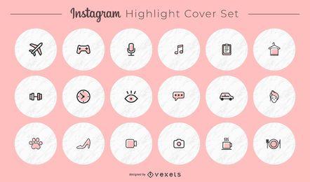 Paquete de portadas redondas de íconos diversos de Instagram