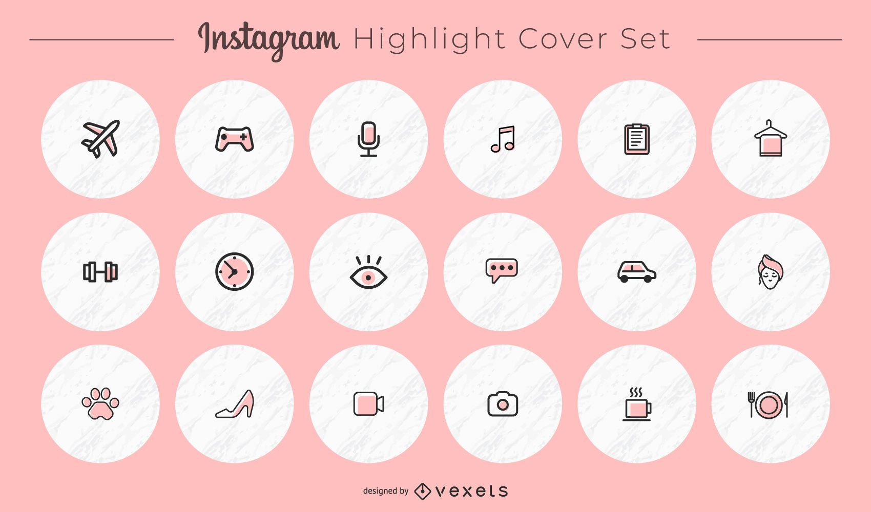 Paquete de portadas redondas de iconos varios de Instagram