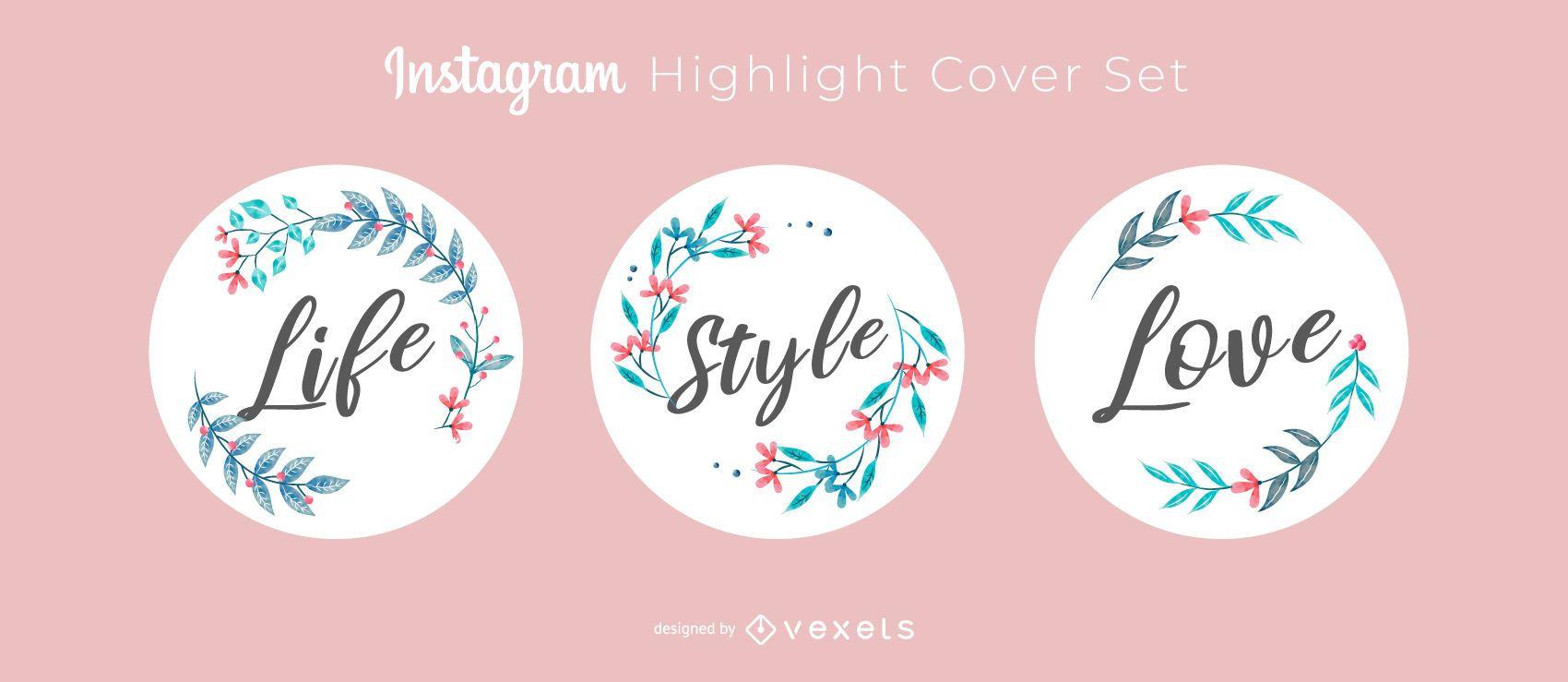 Conjunto de diseño de portada destacada de letras de Instagram