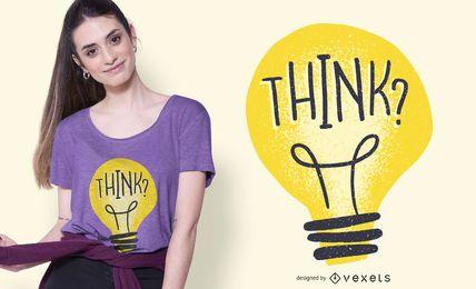 Pense em design de camiseta com ilustração de lâmpada