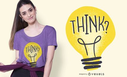 Pense na ilustração da lâmpada Design de t-shirt