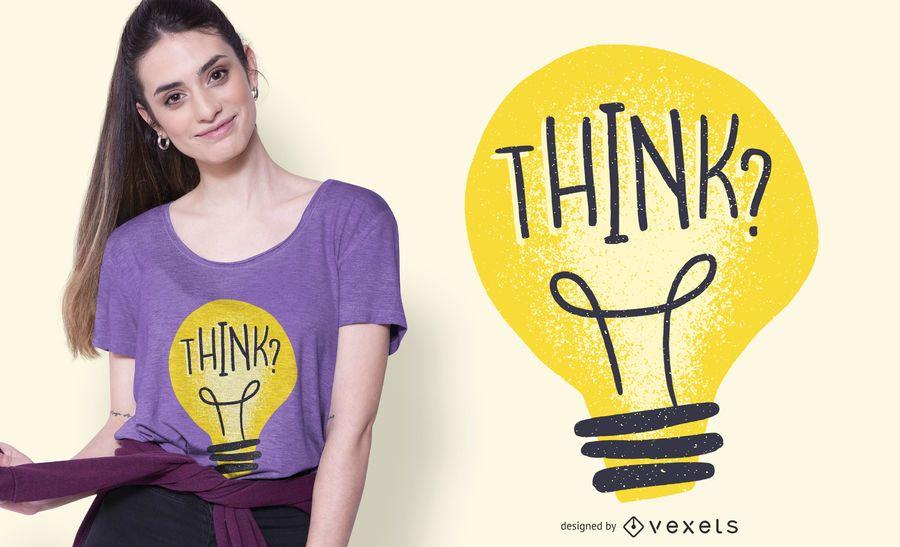 Think Light Bulb Illustration T-shirt Design