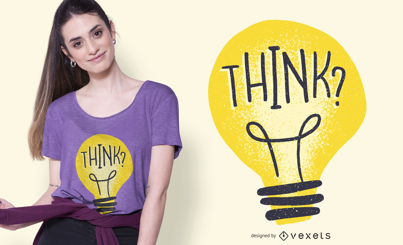 Diseño de camiseta Think Light Bulb Illustration