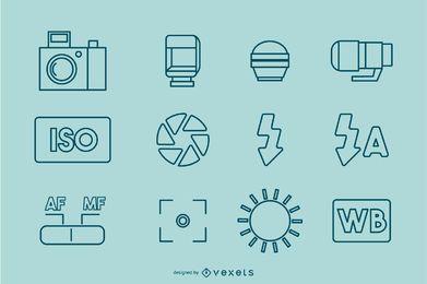 Coleção de ícones de traços de fotografia
