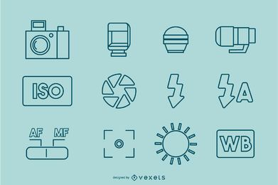 Photography Stroke Icon Collection
