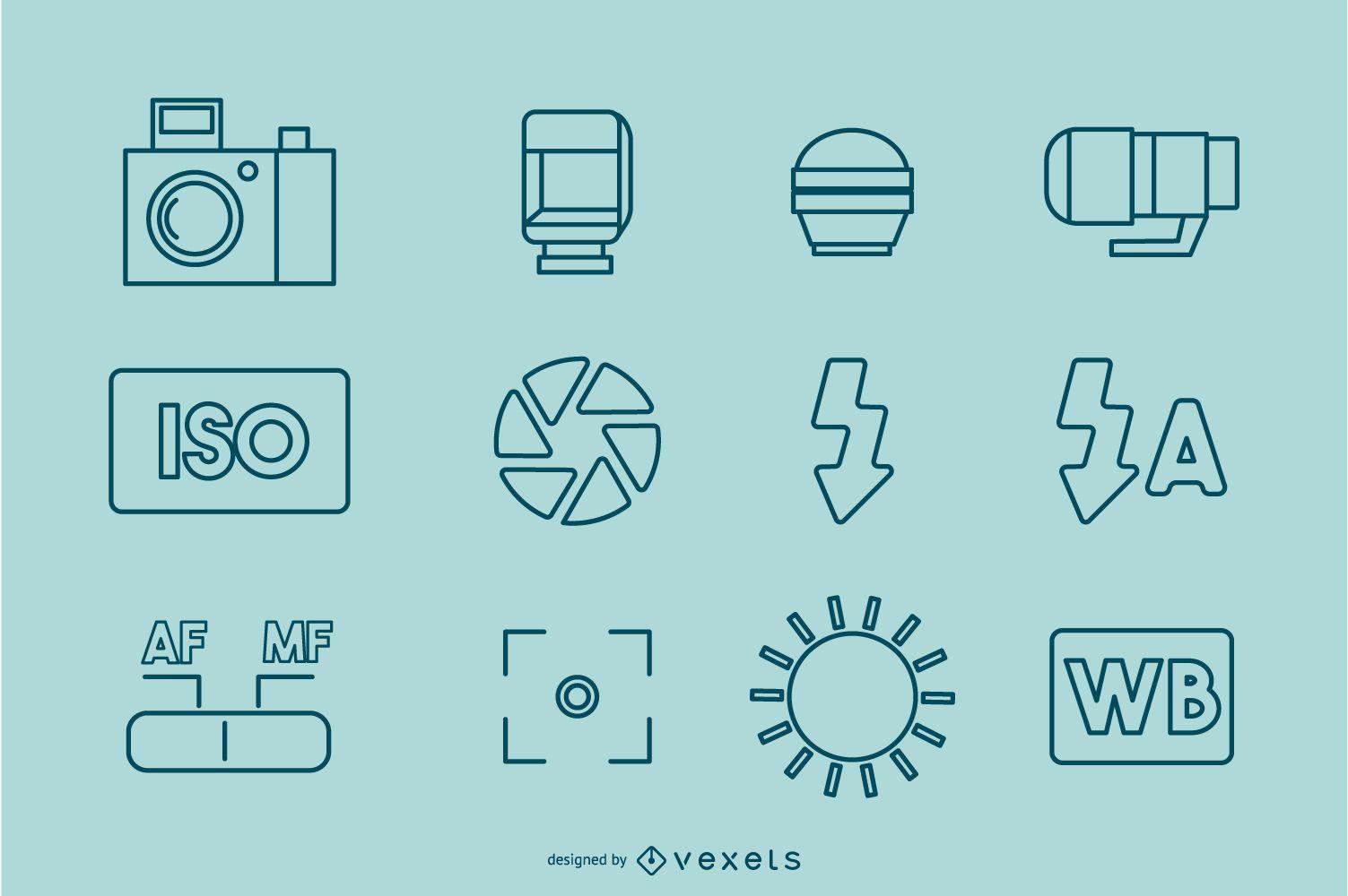 Colección de iconos de trazo de fotografía