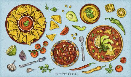 Pacote De Design De Comida Mexicana 5 De Mayo