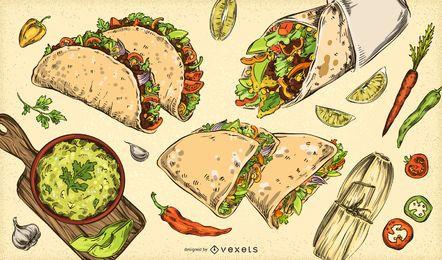 Coleção de ilustrações de comida mexicana