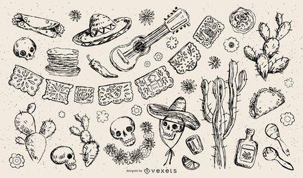 Coleção de ilustração de traço de elemento mexicano tradicional