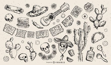 Coleção de ilustração tradicional mexicana Element Stroke