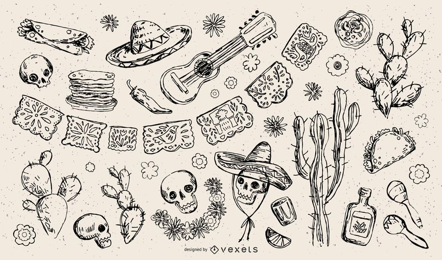 Traditional Mexican Element Stroke Illustration Collection