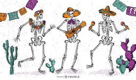 Diseño de ilustración de esqueleto 5 de Mayo