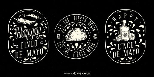 Conjunto de emblemas ilustrados do Cinco de Mayo