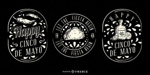 Juego de insignias ilustradas de Cinco de Mayo