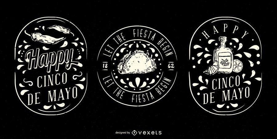 Conjunto de insignias ilustradas del Cinco de Mayo