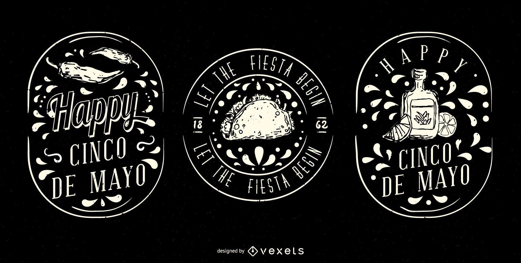 Cinco De Mayo Illustrated Badge Set