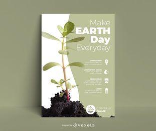 Plantilla de póster de planta del día de la tierra