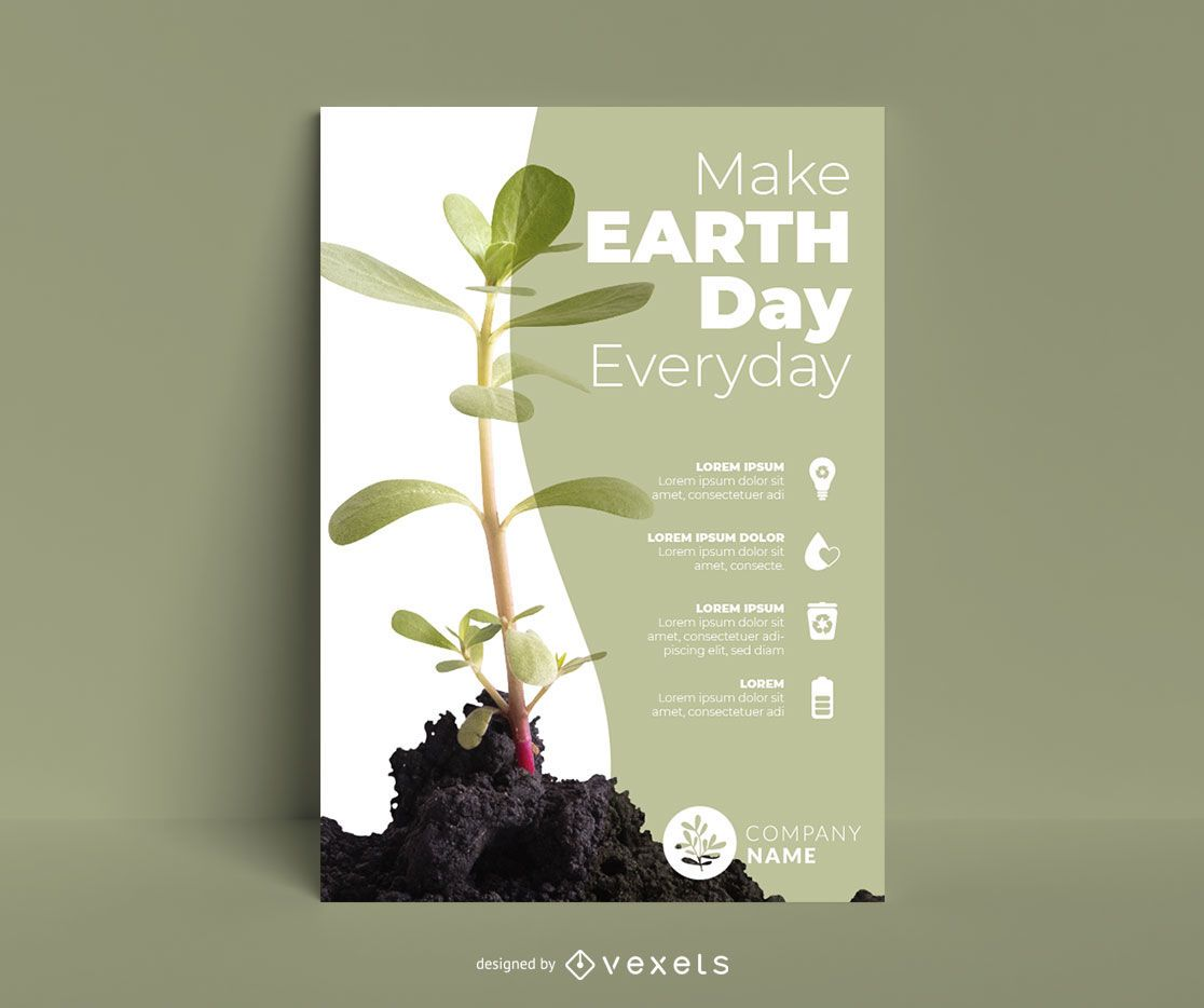 Earth day plant poster template