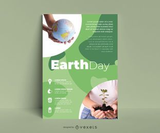 Earth day eco poster template