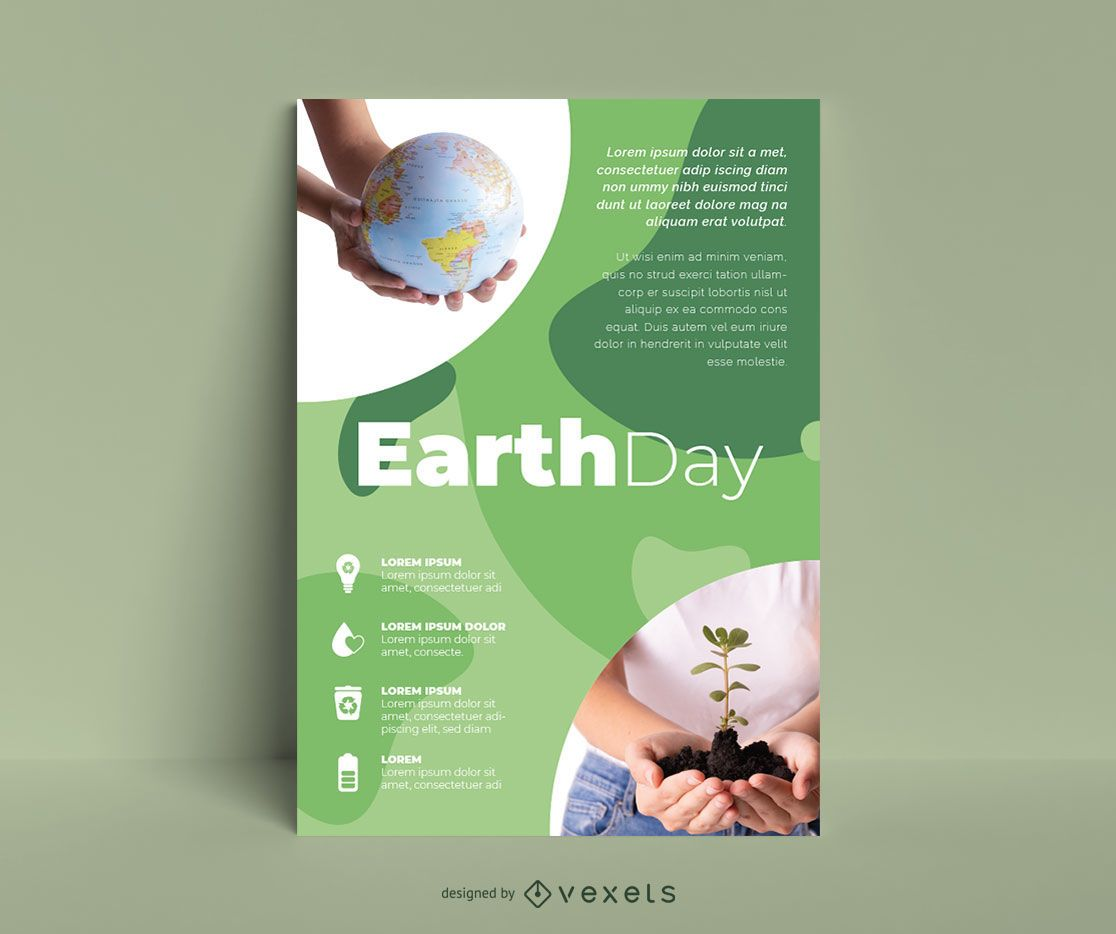 Plantilla de cartel ecológico del día de la tierra