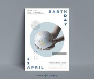 Plantilla de cartel de planeta del día de la tierra