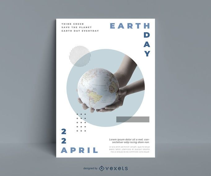 Earth day planet poster template