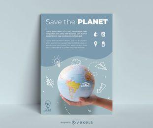 Dia da terra doodle modelo de cartaz do planeta
