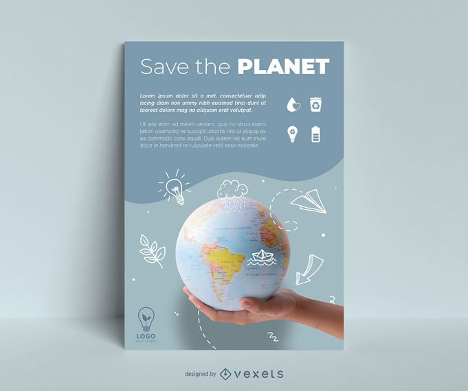 Earth day doodle planet poster template