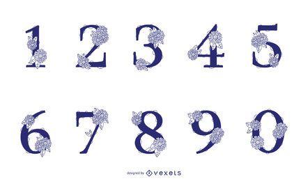 Paquete de diseño de número floral