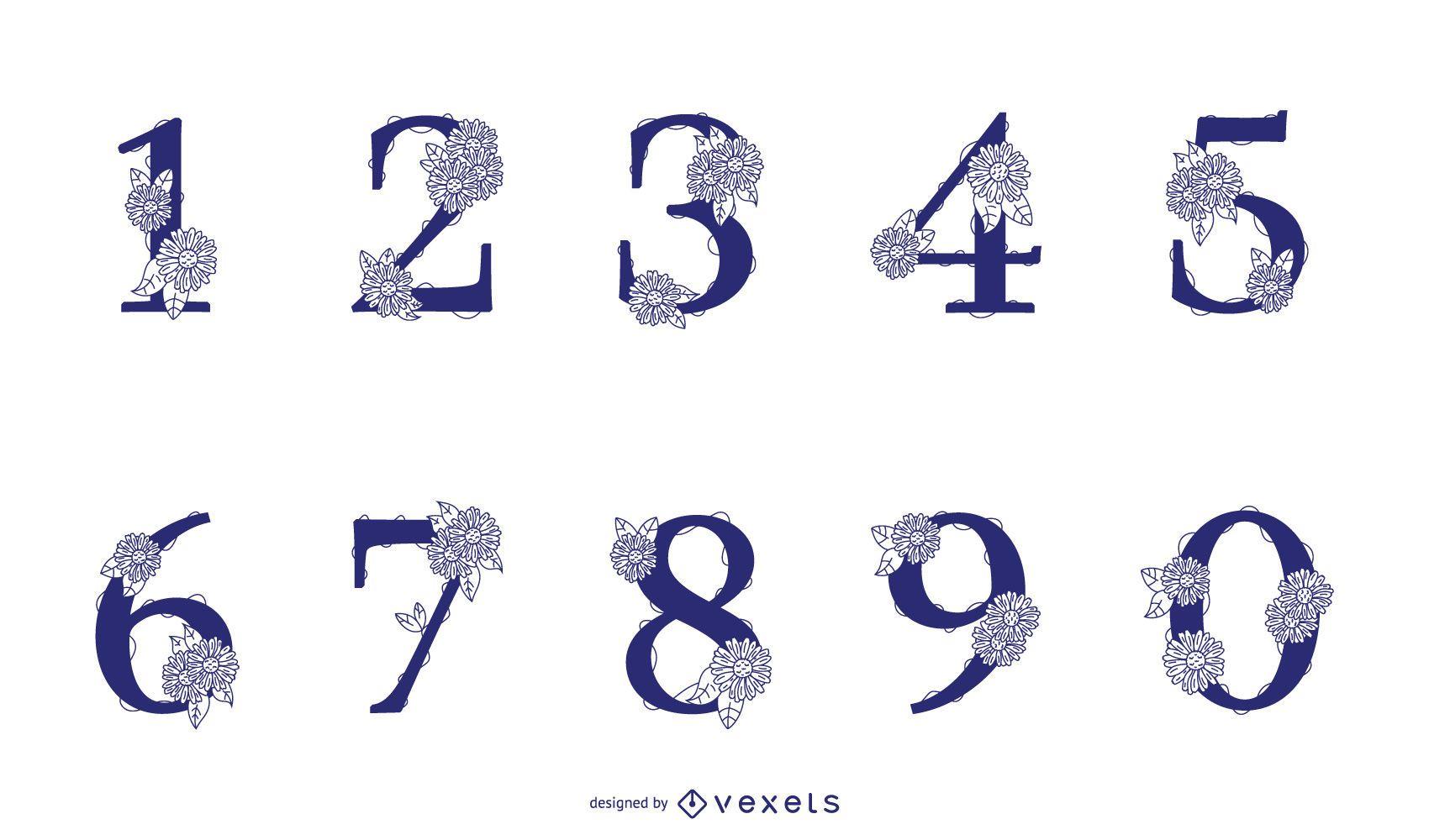 Paquete de diseño de números florales