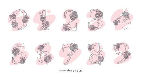 Paquete de diseño de número de flor ornamental