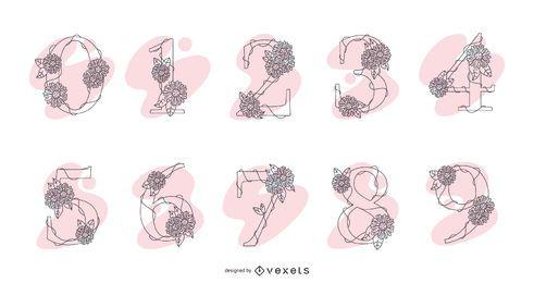 Paquete de diseño de números de flores ornamentales