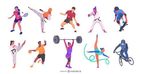 Pacote de ilustração de atletas olímpicos Fiat