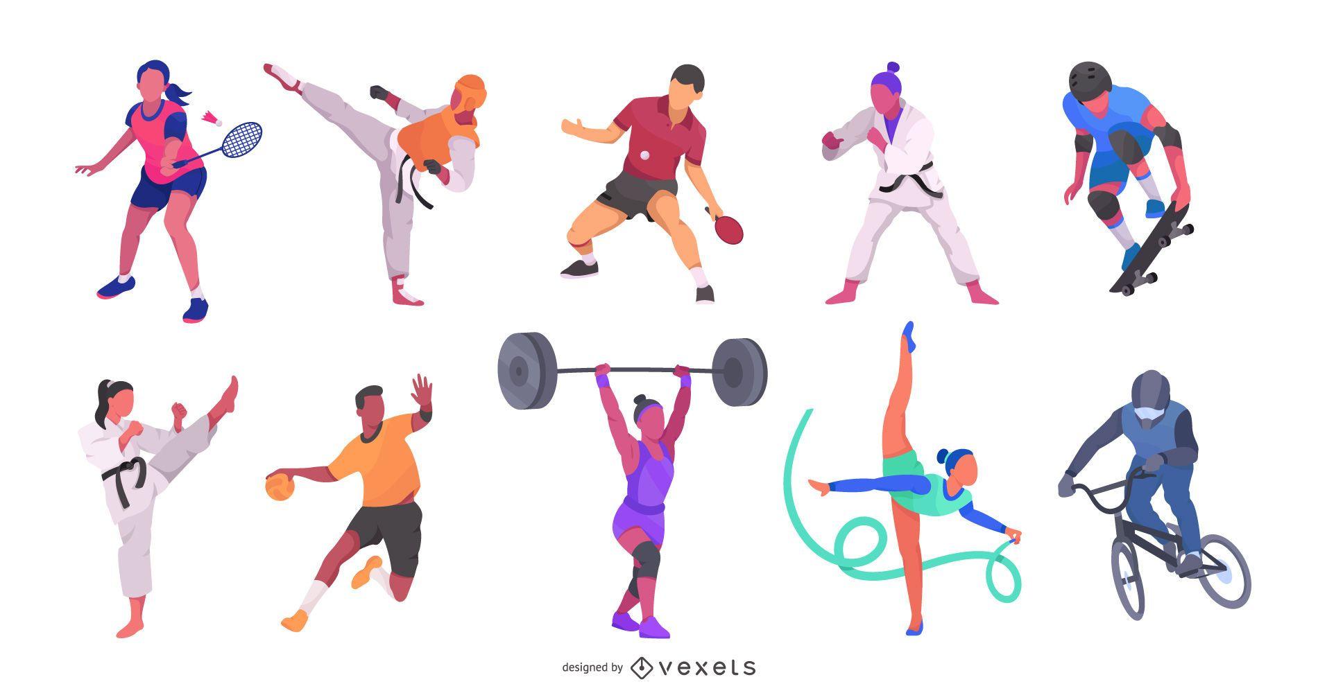 Olympic Athletes Fiat Illustration Pack