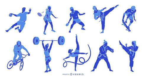 Paquete de silueta de atletas olímpicos