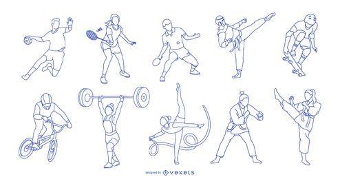 Paquete de personas de carrera de atletas olímpicos