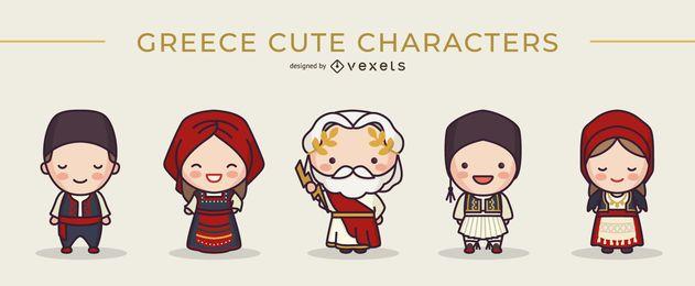 Conjunto de lindos personajes griegos