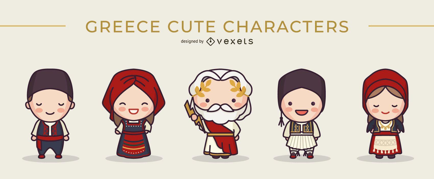Cute greek characters set