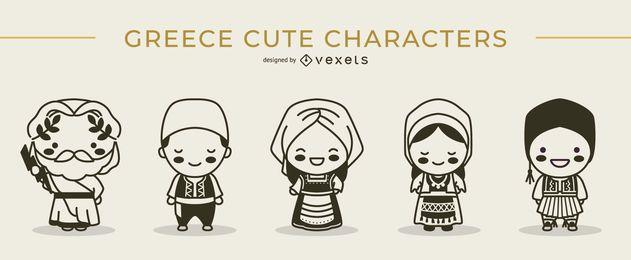 Conjunto de trazos lindos personajes griegos