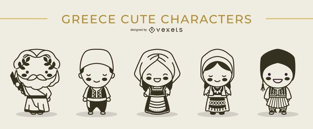 Cute greek characters stroke set